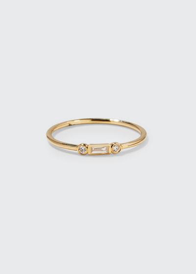 14k Baguette Diamond Stacking Ring