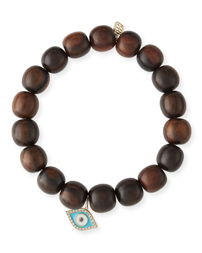 10mm Wood Beaded Bracelet w/ 14k Diamond Evil Eye Charm
