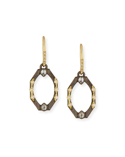 Old World Octagonal Earrings with Diamonds & White Sapphires