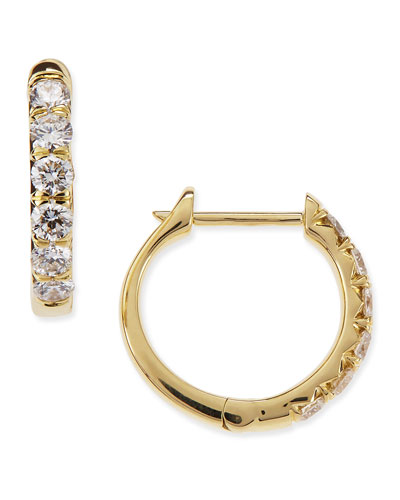 Pavé Diamond Hoop Earrings in 18K Gold