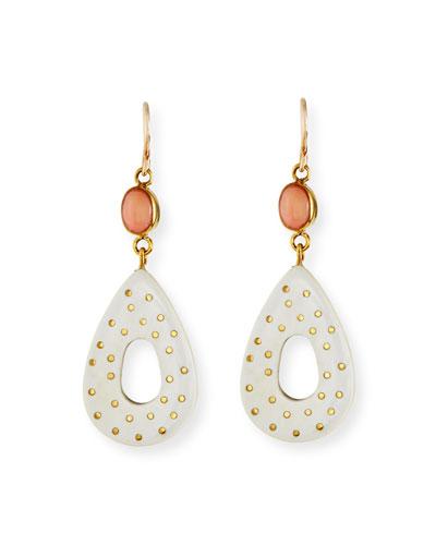 Bendi Light Horn & Coral Teardrop Earrings