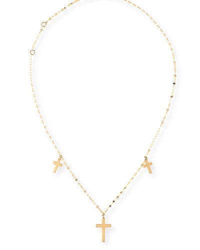 Triple Cross Necklace in 14K Gold