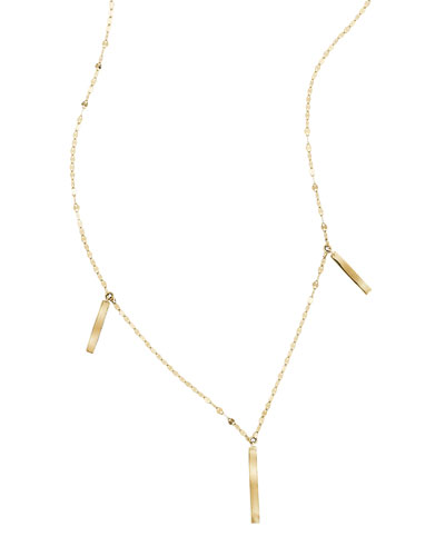 Triple Bar Charm Necklace in 14K Gold
