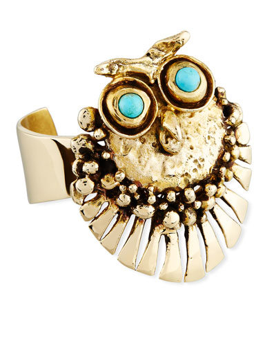 Bronze Owl Cuff Bracelet with Turquoise