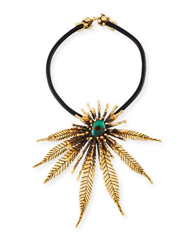 Sculptural Leaf Necklace with Turquoise
