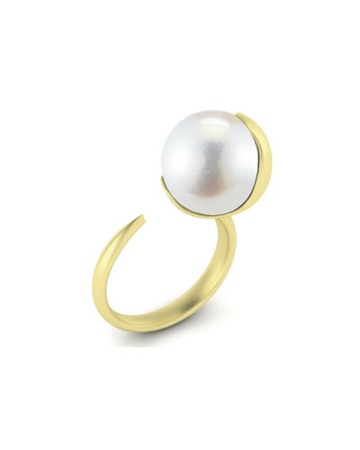 12mm Fluid Open White Pearl Ring, Size 6