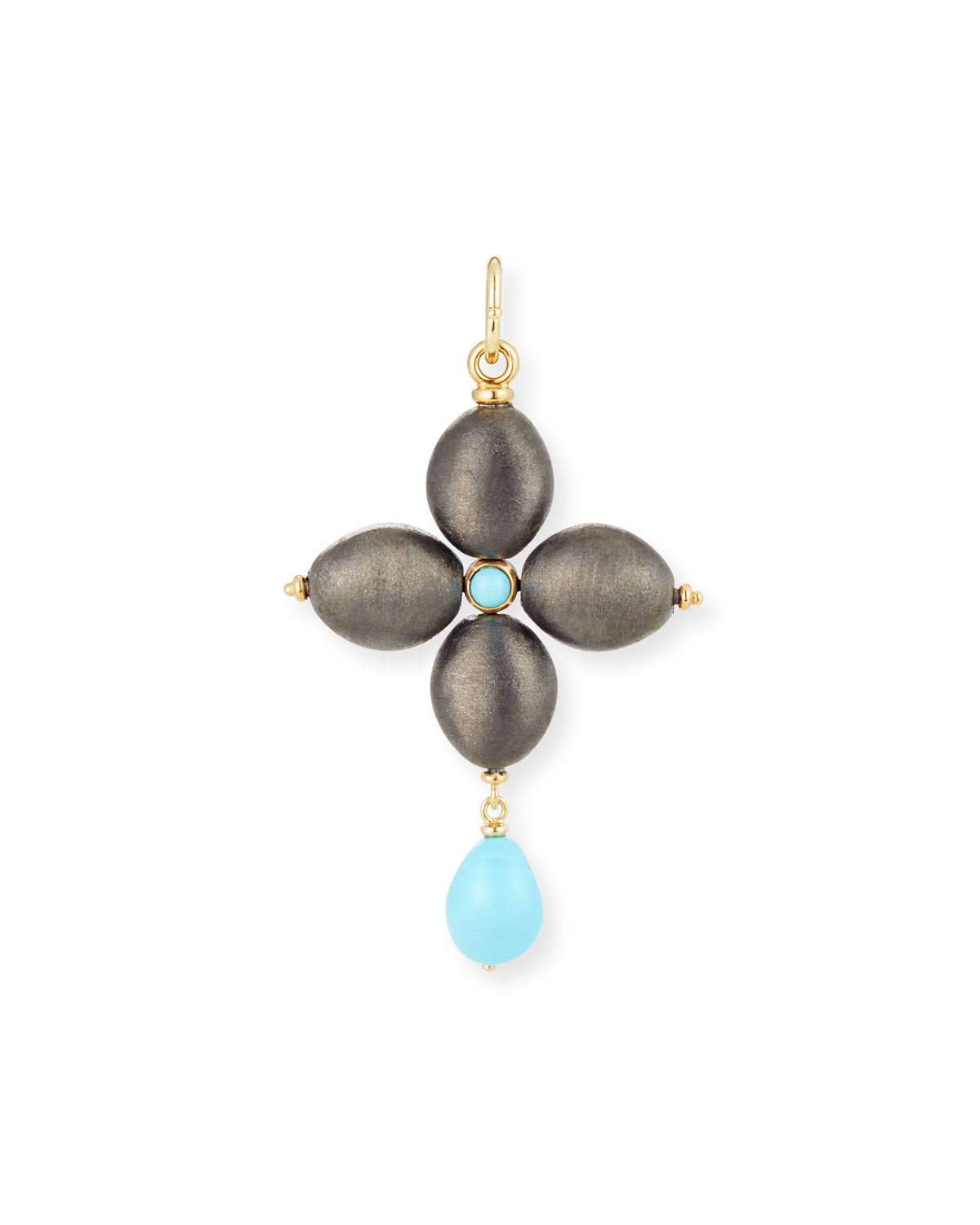 BLACK SILVER CROSS CHARM WITH TURQUOISE