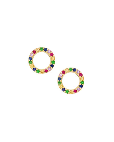 Girls' Mini Circle Rainbow Sapphire Earrings