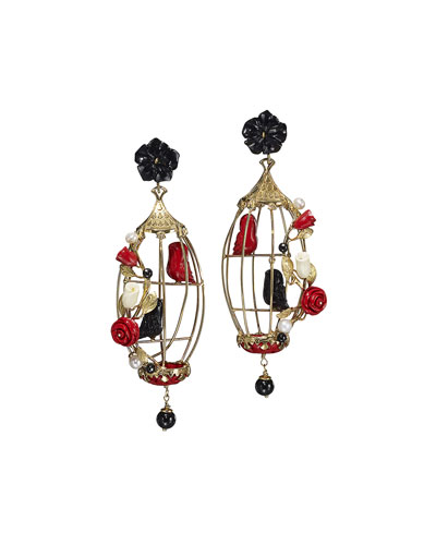 Lovebird Onyx & Coral Drop Earrings