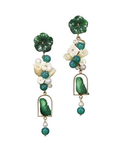 Green Tagua & Pearl Nester Earrings