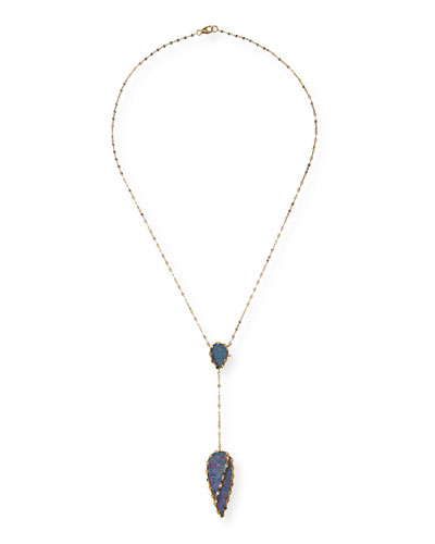 Boulder Opal Frosted Lariat Necklace
