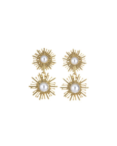 Pearly Sun Star Drop Clip-On Earrings