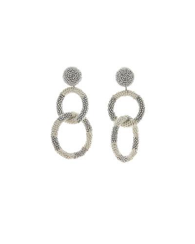 Beaded Two-Hoop Drop Clip-On Earrings, Silver