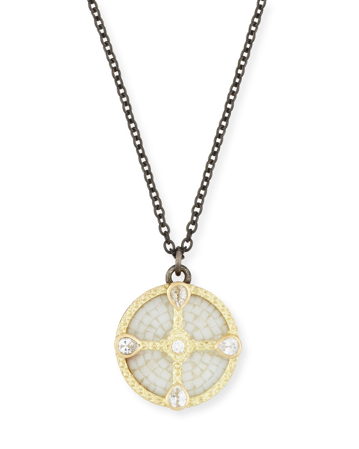 Armenta OLD WORLD MOSAIC SHIELD PENDANT NECKLACE WITH DIAMONDS & SAPPHIRES