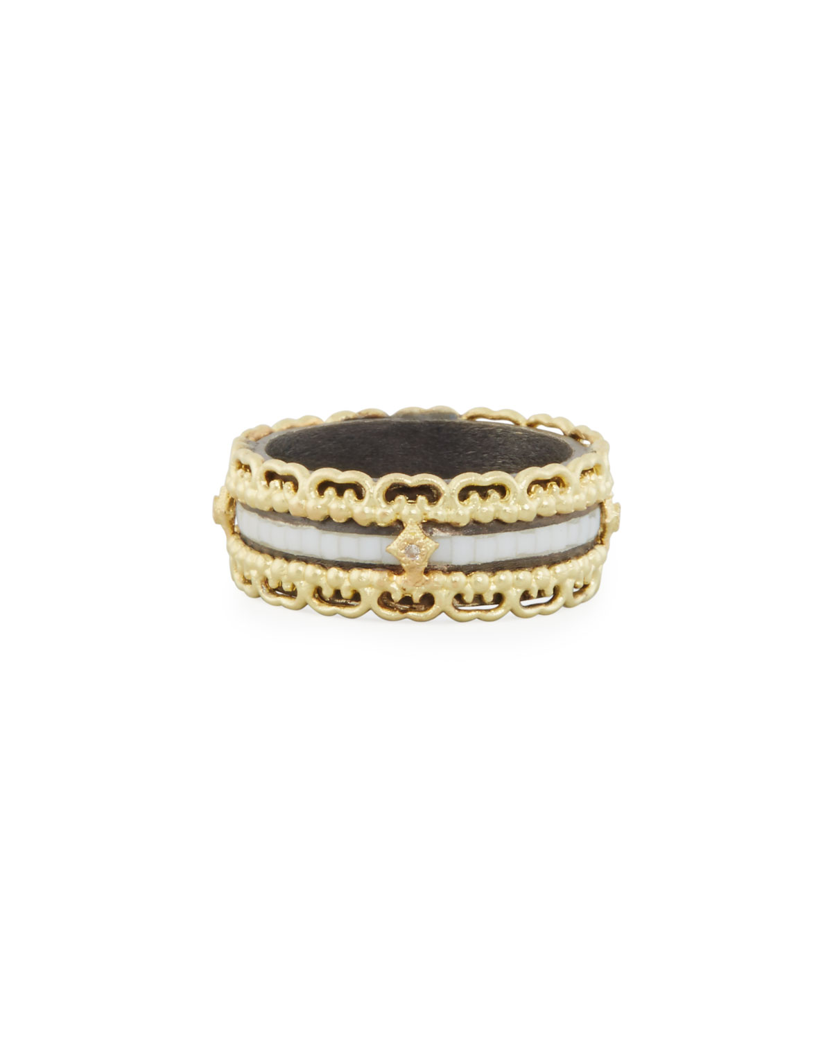 Armenta OLD WORLD MOSAIC BAND RING WITH WHITE DIAMONDS