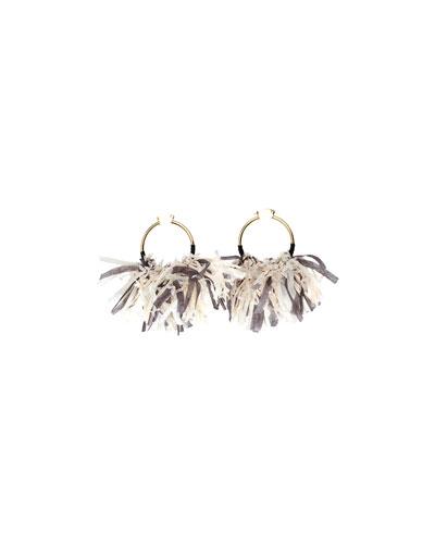 Mary Fringed Hoop Earrings, Gray
