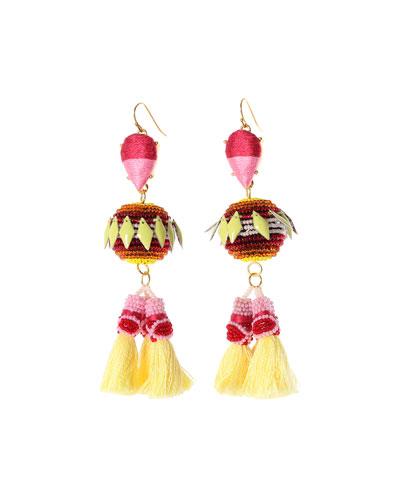 Rayna Beaded Tassel Drop Earrings, Pink