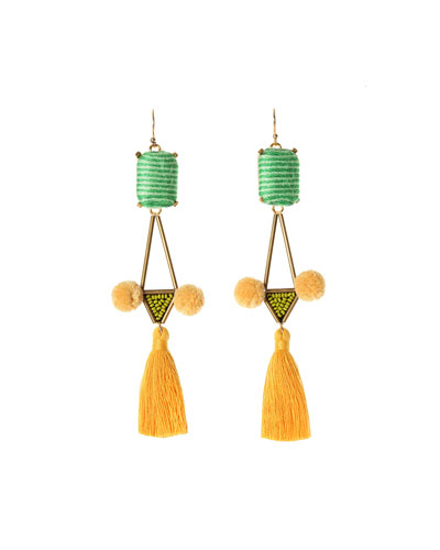 Mason Tassel Drop Earrings, Green/Yellow