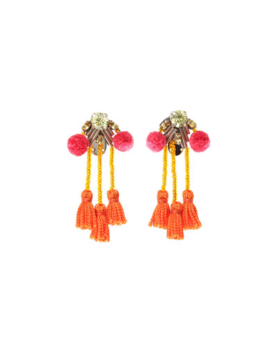 Meredith Tassel Statement Earrings, Pink/Orange