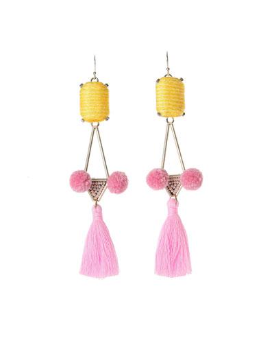 Mason Tassel Drop Earrings, Pink/Yellow