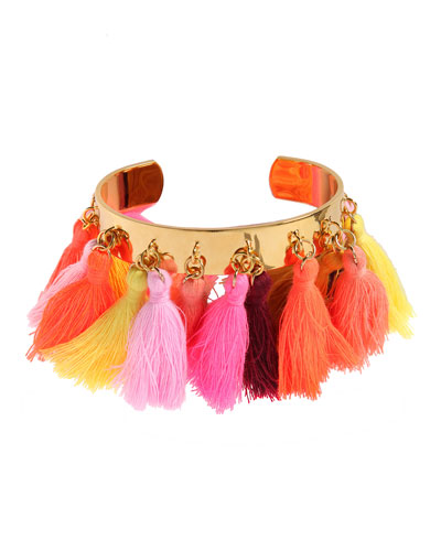 Lily Tassel-Trim Cuff Bracelet, Pink/Orange