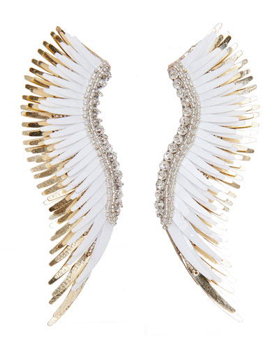 Madeline Beaded Statement Earrings, White/Golden