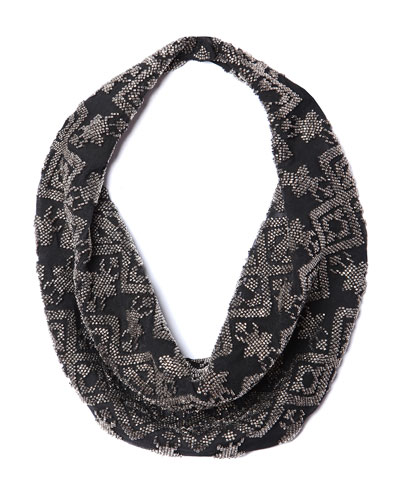 Dakota Silk Chiffon Scarf Necklace, Black Pattern