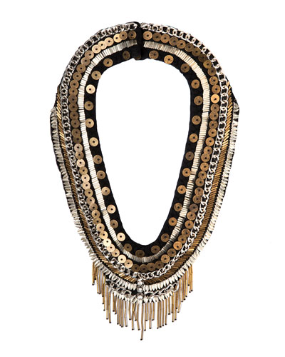 Layne Beaded Statement Necklace, Black