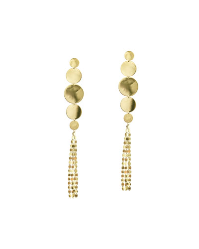 Large Nude Disc Fringe Earrings