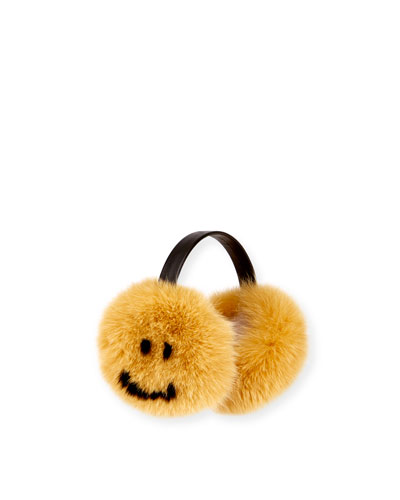 Smiley Fox Fur Ear Muffs