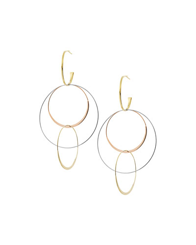 Large Flat Bond Link Hoop Earrings in 14K Tricolor Gold