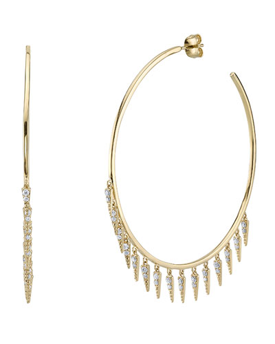 Large Fringe Drop Hoop Earrings with Diamonds