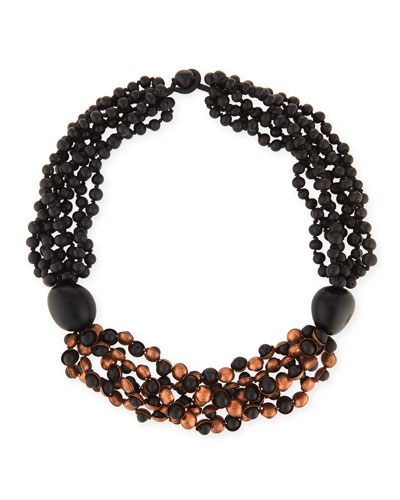 Short Multi-Strand Beaded Acai & Copper Necklace