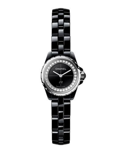 Black XS J12 Watch with Diamonds