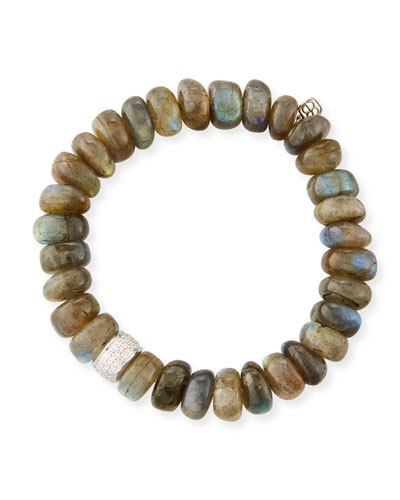 9mm Labradorite Beaded Bracelet with Diamond Spacer Bead