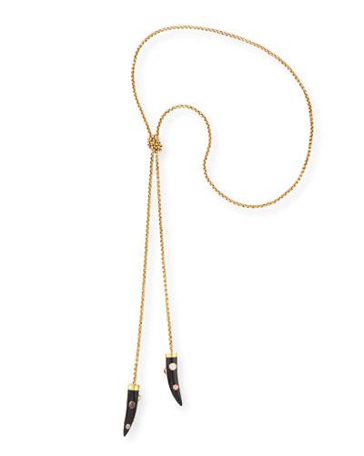Upendo Dark Horn Lariat Necklace