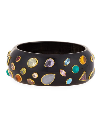 Ashley Pittman Urujuani Studded Dark Horn Bangle
