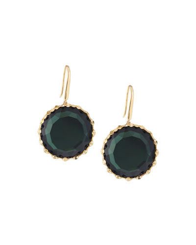 14k Midnight Round Drop Earrings, Green
