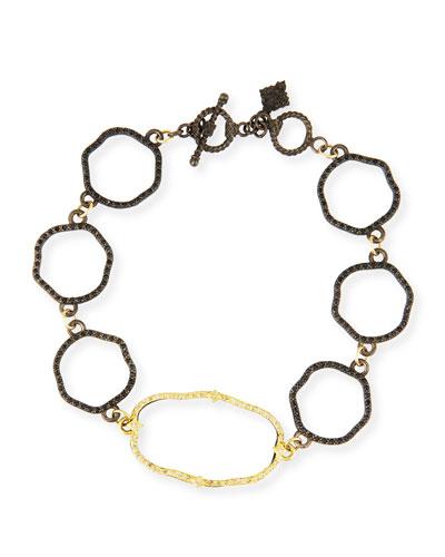 Old World Wavy Circle Link Bracelet with Diamonds
