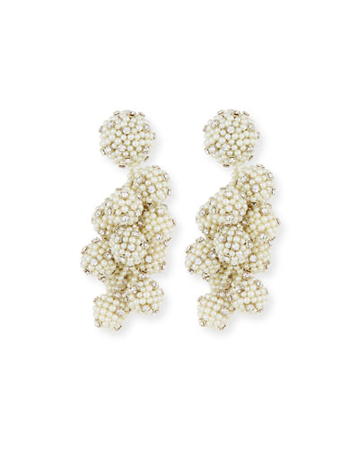 Bijoux Coconut Beaded Clip Earrings