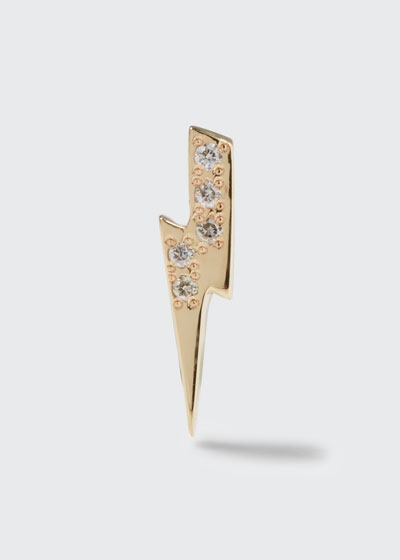 Lightning Bolt Single Stud Earring with Diamonds