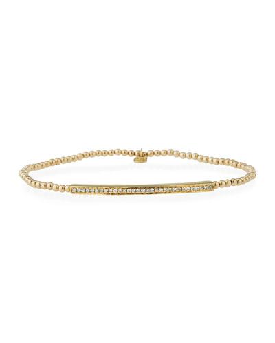 2mm Beaded Bar Spacer Bracelet with Diamonds
