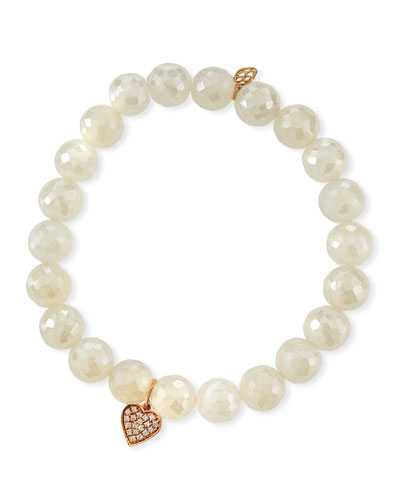 Diamond Heart & Pearly Chalcedony Bracelet