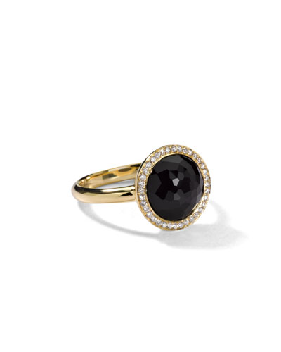 18K Rock Candy Mini Lollipop Ring in Onyx with Diamonds