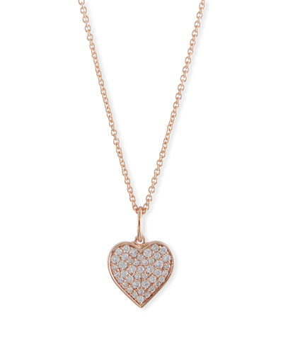 Small Anniversary 14K Rose Gold Heart Pendant Necklace with Diamonds
