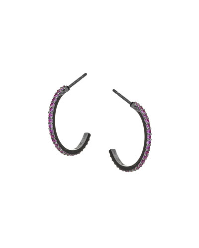 Electric 14K Black Gold Hoop Earrings with Pink Sapphires