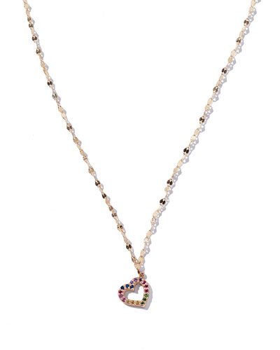 Girls' Rainbow Sapphire Heart Pendant Necklace