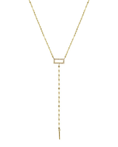 Mini Diamond Rectangle Lariat Necklace