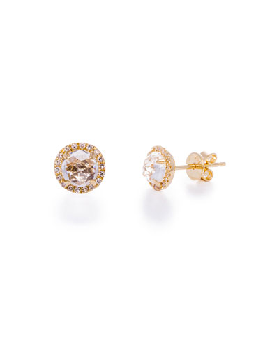 White Topaz & Diamond Halo Stud Earrings
