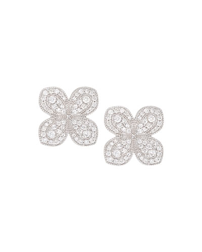 Scallop Pave Petal Earrings with Diamonds in 18K White Gold